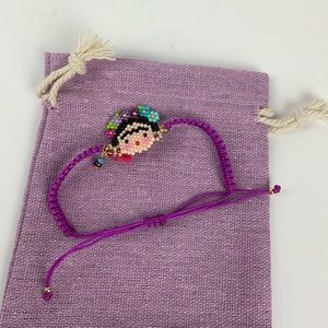 Frida Khalo Hand Made Bracelet ajustable purple.